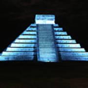 Cancun Mexico - Chichen Itza - Temple Of Kukulcan-el Castillo Pyramid Night Lights 3 Art Print
