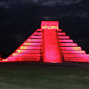Cancun Mexico - Chichen Itza - Temple Of Kukulcan-el Castillo Pyramid Night Lights 4 Art Print