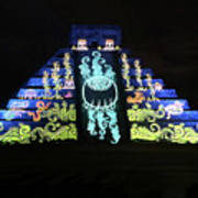 Cancun Mexico - Chichen Itza - Temple Of Kukulcan-el Castillo Pyramid Night Lights 6 Art Print