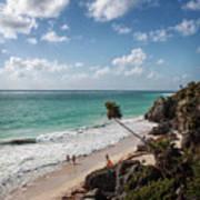 Cancun Mexico - Tulum Ruins - Caribbean Beach Art Print