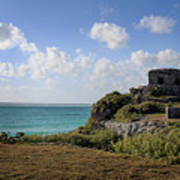 Cancun Mexico - Tulum Ruins - Temple For God Of The Wind 1 Art Print