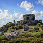 Cancun Mexico - Tulum Ruins - Temple For God Of The Wind 2 Art Print