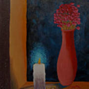 Candle In The Window Art Print