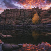 Candle Lit Lake Art Print by Peter Coskun