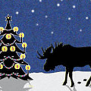 Candlelit Christmas Tree And Moose In The Snow Art Print