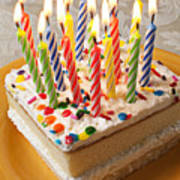 Candles On Birthday Cake Art Print by Garry Gay