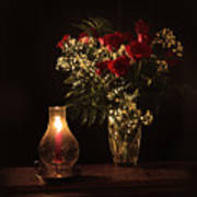 Candlestick And Roses Art Print