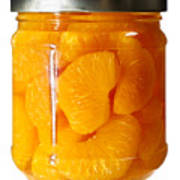 Canned Mandarin Oranges In Glass Jar Art Print