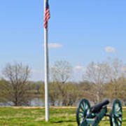 Cannon And Flagpole Overlooking River Art Print