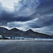 Cannon Beach Under Clouds Art Print
