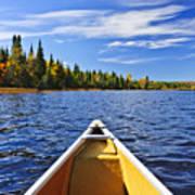 Canoe Bow On Lake Print by Elena Elisseeva