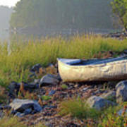 Canoe On The Rocks Art Print
