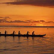Canoe Paddlers Silhouette Art Print