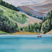 Canoeing-in-lake-louise Art Print