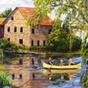 Canoeing Past The Mill Art Print