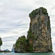 Canoeing The Thailand Scarps Art Print