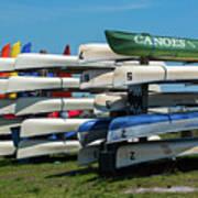 Canoes Cascaded Art Print