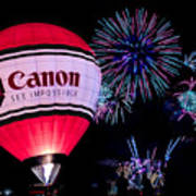Canon - See Impossible - Hot Air Balloon With Fireworks Art Print