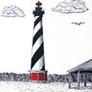 Cape Hatteras Lighthouse Drawing Art Print