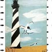 Cape Hatteras Lighthouse - Fish Border Art Print