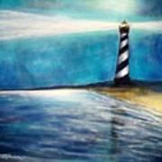 Cape Hatteras Lighthouse Night Glow Art Print