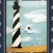 Cape Hatteras Lighthouse - Ship Wheel Border Art Print