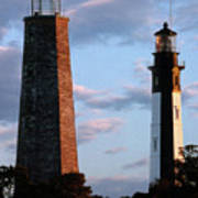 Cape Henry Lighthouses In Virginia Art Print by Skip Willits