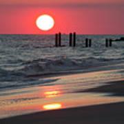 Cape May Nj Sunset, Philadelphia Beach Art Print