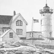Cape Neddick Light House Drawing Art Print