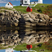 Cape Neddick Reflection - D003756a Art Print by Daniel Dempster