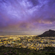 Cape Town From Signal Hill At Sunset Art Print