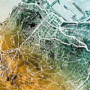 Cape Town South Africa City Street Map Digital Art by Michael Tompsett