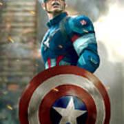 Captain America With Helmet Art Print