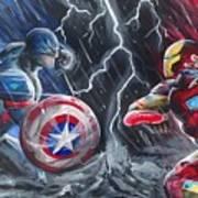 Captain American Vs Ironman Art Print