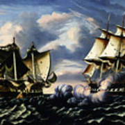 Capture Of H.b.m. Frigate Macedonian By U.s. Frigate United States, October 25, 1812  Art Print