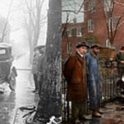 Car Accident - Watch For Ice 1921 - Side By Side Art Print