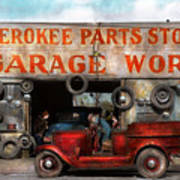 Car - Garage - Cherokee Parts Store - 1936 Art Print