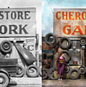 Car - Garage - Cherokee Parts Store - 1936 - Side By Side Art Print