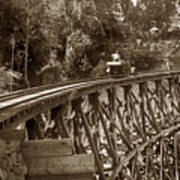 Car On A Wooden Railroad Trestle Circa 1916 Art Print