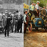 Car - Race - The End Of A Long Journey 1906 - Side By Side Art Print