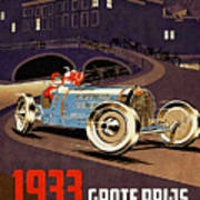 Car Racing Christmas Poster Of The 30s Art Print