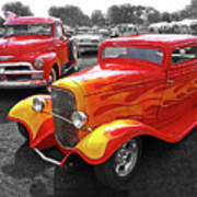 Car Show Fever - 54 Chevy With A 32 Ford Coupe Hot Rod Art Print