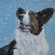 Cardigan Welsh Corgi In Snow Art Print