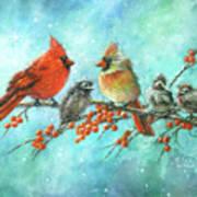 Cardinal Family Three Kids Art Print