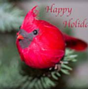 Cardinal Happy Holidays Art Print
