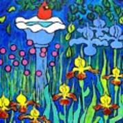 Cardinal In Birthbath Garden Art Print