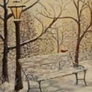 Cardinal In The Snow Art Print