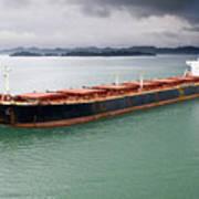 Cargo Ship Under Stormy Sky Art Print