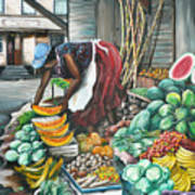 Caribbean Market Day Art Print by Karin  Dawn Kelshall- Best