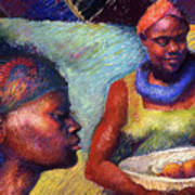 Caribbean Women With Oranges Art Print